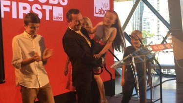 Labor leader Mark McGowan with his family at the party's campaign launch.