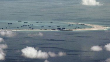 A disputed island in the South China Sea.