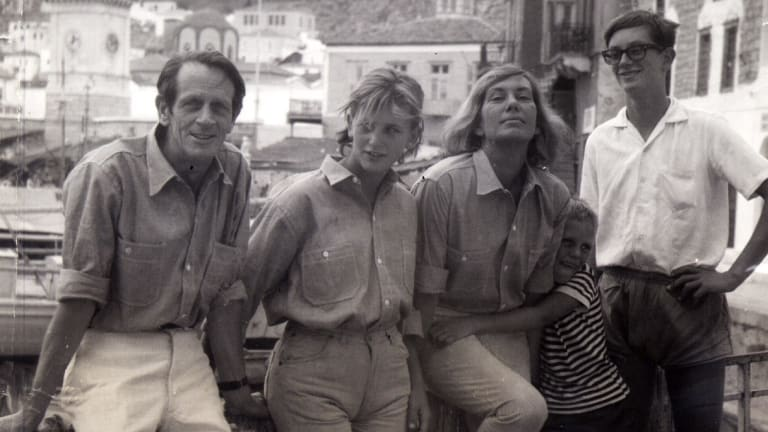 George Johnston and Charmian Clift with their children Shane, Jason and Martin on Hydra.