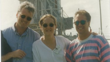 Ferguson with Tony Jones, at left, and sound recordist Ted Roth at Cape Canaveral, 1994.