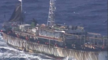A screengrab of video by Argentina's navy showing the Chinese fishing boat Lu Yan Yuan Yu 010 in the navy's crosshairs off the coast of Puerto Madryn.