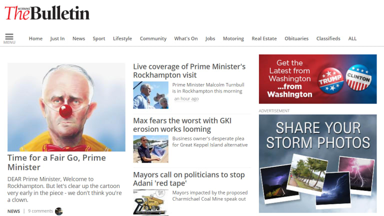 The homepage of the Rockhampton Morning Bulletin shows Prime Minister Malcolm Turnbull in an unflattering light.