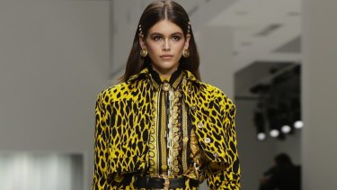 Kaia Gerber sported the look at the Versace show at fashion month.
