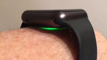 The Apple Watch emits a green light when measuring the wearer's heart rate.