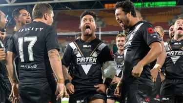 Proud New Zealander: Issac Luke leads the haka after the Kiwis beat Australia on Sunday.