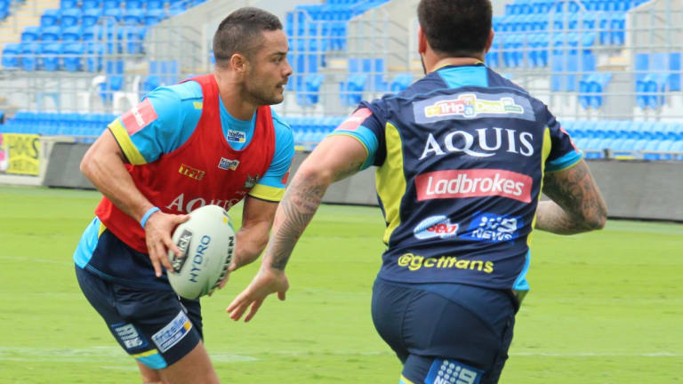 Going through his paces: Jarryd Hayne trains with the Titans on Thursday.