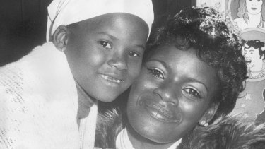 Marcia Hines with daughter Deni in 1976, after being crowned TV Week's Queen of Pop.