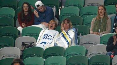 Sleepy spectators watch the men's third-round match between Gasquet and Dimitrov.