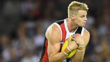 Nick Riewoldt of the Saints marks during the round one AFL match between the St Kilda Saints and the Melbourne Demons at Etihad Stadium on March 25, 2017 in Melbourne, Australia. (Photo by Quinn Rooney/Getty Images)