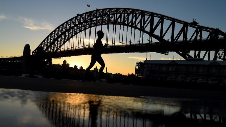 It felt like 2.9 degrees at sunrise in Sydney, but that didn't deter runners from pounding the pavement.
