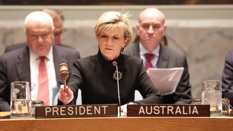 Foreign Minister Julie Bishop chairs the UN Security Council meeting in New York overnight.