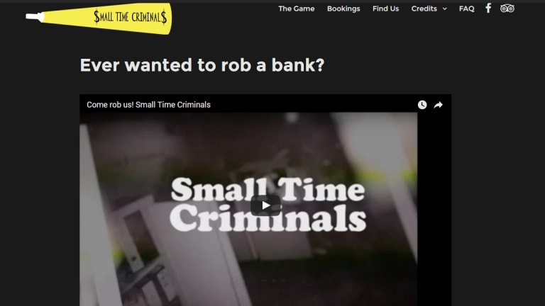 Small Time Criminals website with the slogan ''Ever Wanted to Rob a Bank''.