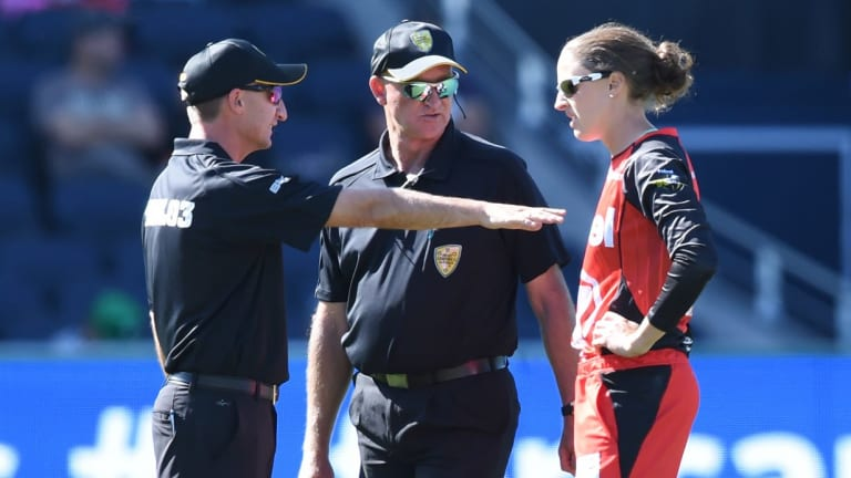 Confusion: Renegades player Amy Satterthwaite talks to umpires after the match had to go to a super over.