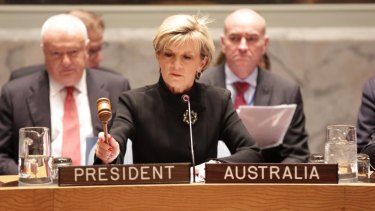 Powerful role model: Foreign Affairs Minister Julie Bishop chairs a United Nations Security Council meeting.