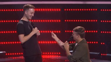Real drama: Contestant Nathan Brake proposes to his partner Mitchell on stage after his blind audition.