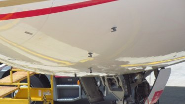The pitot probes on the Etihad A330 fuselage.