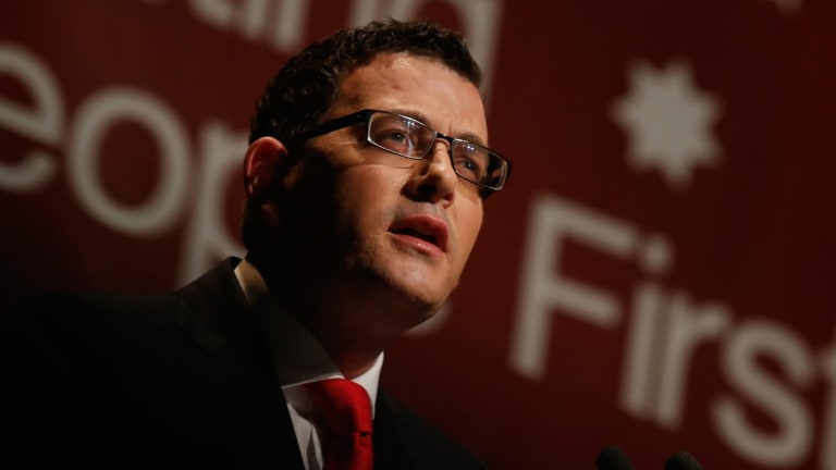Opposition Leader Daniel Andrews launching the ALP's education policy.