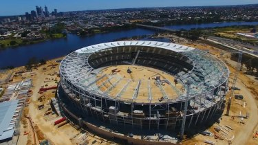 An aerial view of the new Perth Stadium during construction.