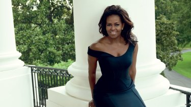 Michelle Obama in Versace as she appears in the December 2016 issue of Vogue.