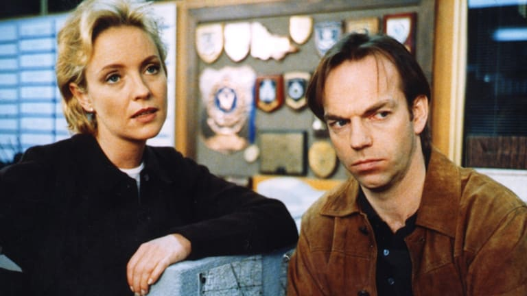 Rebecca Gibney and Hugo Weaving on the set of Halifax f.p. in 1998. Gibney is reprising the role in a reboot.