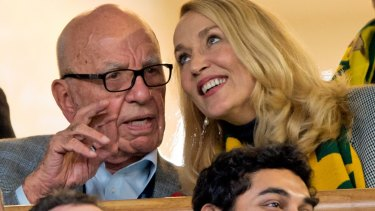 Rupert Murdoch and Jerry Hall at Twickenham on Saturday.