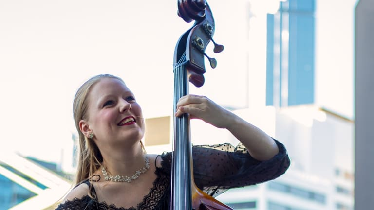 Double bass player Phoebe Russell.