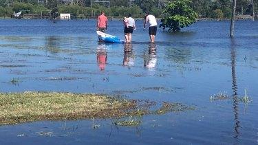 Sports fields go under as floodwater rises in Rockhampton.
