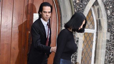 Musician Nick Cave and wife Susie Bick attend the inquest into their son's death at Brighton Coroner's Court on Tuesday.