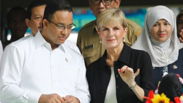 Jakarta gubernatorial candidate Anies Baswedan, then education minister, with Australian Foreign Minister Julie Bishop, last year.