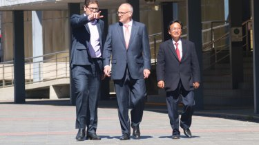 Ryde Labor councillor Jerome Laxale with NSW opposition leader Luke Foley and candidate Peter Kim on Sunday.