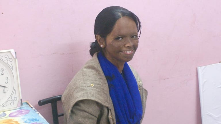 Laxmi at the office of the Stop Acid Attacks group in Nagar, East Delhi, where she works.