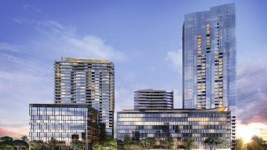 Artist's impression of South Quarter of the planned development of Auto Alley on 57, 63 and 83 Church Street Parramatta is set to become a new commercial hub worth $225 million.