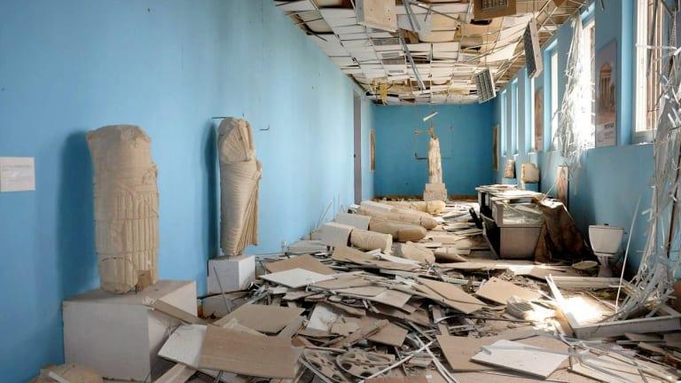 Vandalism at the Palmyra Museum.