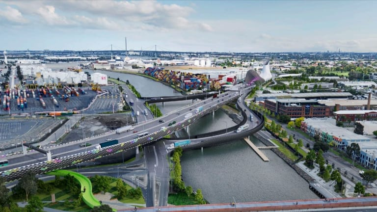 The proposed West Gate Tunnel crossing of the Maribyrnong River.