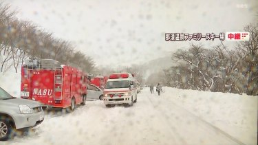 Emergency services vehicles at the scene in Nasu.