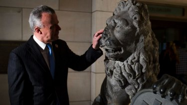Brendan Nelson visits the Menin Gate lions at the War Memorial before they left on loan to Belgium.