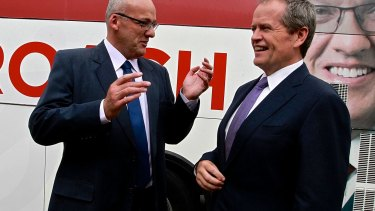 Luke Foley, left, and Bill Shorten during the 2015 NSW election campaign.