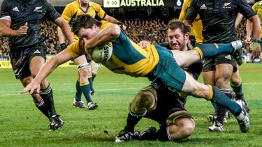 Bledisloe veteran: Adam Ashley-Cooper dives over the line at the MCG in 2007.