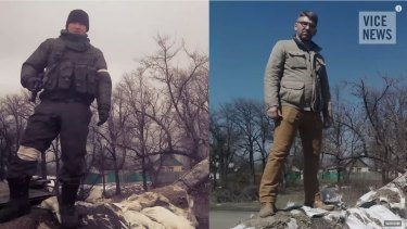 Telling 'selfies' ... right: VICE reporter Simon Ostrovsky stands in Vuhlehirsk in Ukraine, 13km west of Debaltseve. Left:  Bato Dambaev, the man Ostrovsky says is a serving Russian soldier, stands at the same destroyed Ukrainian checkpoint in February.