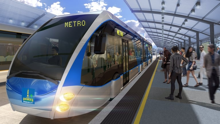 An artists' impression of what the Brisbane Metro's bi-articulated buses could look like.