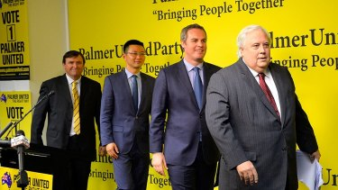 Exit, stage left: Clive Palmer and PUP candidates  at the  launch of the party's ill-fated 2016 federal campaign.