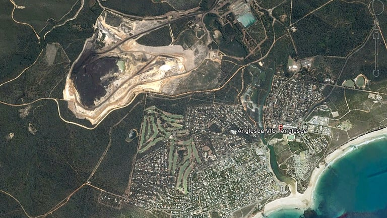 A satellite image of the Anglesea coalmine and power station.