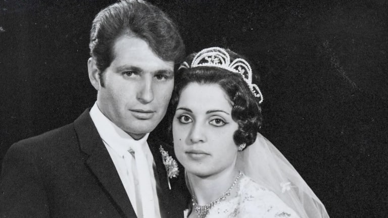 Opera House cleaner Steve Tsoukalas on his wedding day with wife Marina in 1968.