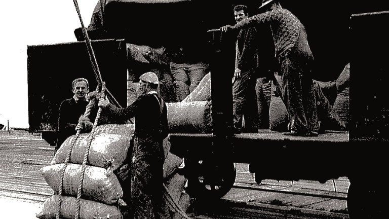 Workers load bags of wheat from a rail truck at Station Pier in 1954.