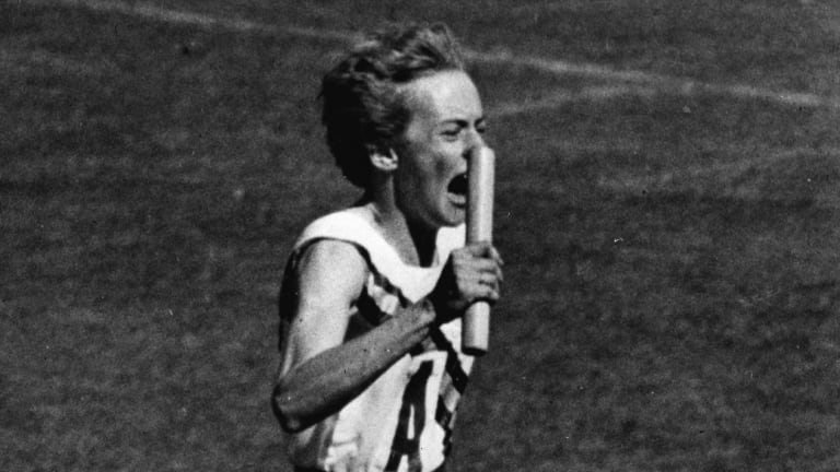 Betty Cuthbert competes at the 1956 Melbourne Olympics.