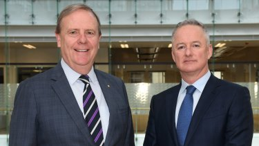 Nine Entertainment chairman Peter Costello (left) and chief executive Hugh Marks.