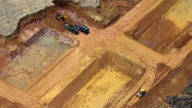 An aerial view of a production area, inside APRIL's concession in Riau province.