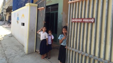 Children outside an orphanage in Phnom Penh.