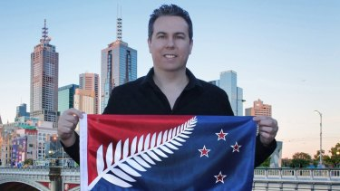 Kyle Lockwood, Melbourne-based architect, with one of his designs for the NZ flag.