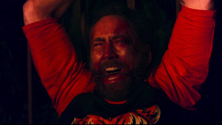 Nicholas Cage as Red in <I>Mandy</I>.